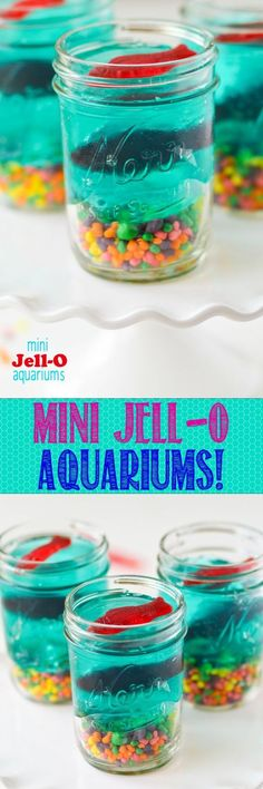 Mini Jell-O Aquariums -- so cute and such a fun snack/project to do with the kiddos this Summer. Fun birthday party snack!!
