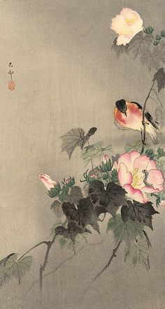 'Stonechat perched on a flowering branch' ( Meiji era, ). Woodblock print by Ohara Koson 小原古邨 - Image and text courtesy Freer Sackler. Japanese Art Copyright with museum Japanese Art Styles, Japanese Artwork, Japanese Prints, Japanese Style, Beautiful Flower Drawings, Ohara Koson, Japan Painting, Arte Floral, Japan Art