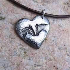 Horse Pals Necklace, Horse Heads, Heart, Rustic Equine Jewelry