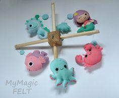 Baby mobile ocean Crib mobile Under sea baby girl by MyMagicFelt