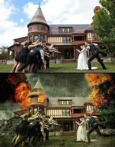 Foto de boda estilo Walking Dead.