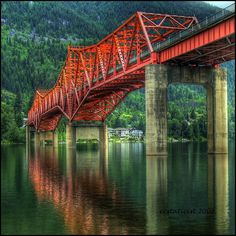 """Can we drive across the Big Orange bridge!"" Bridge to Nelson, Kootenay Lake narrows, British Columbia, British Columbia, Rocky Mountains, Places To Travel, Places To See, Vancouver, Love Bridge, Western Canada, Seen, Covered Bridges"