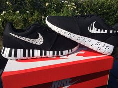 Nike Roshe Run custom design, Rosherun, Music, music notes, black and white theme, Piano keys, hand painted MENS and WOMENS