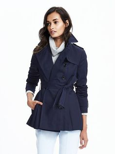 Thinking ahead to fall when this preppy, Short Peplum Trench will be just the right touch