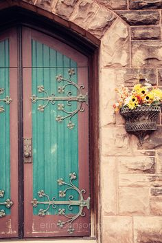 door photography blue decor flower photography beige decor architecture photograph brown decor stone work metal art