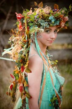 Items similar to Woodland Faerie Floral Headdress Crown Wreath with Butterflies, Embellishments and Streaming Ribbons ~ CUSTOM CREATED on Etsy Fairy Crown, Flower Crown, Faerie Costume, Woodland Fairy Costume, Pixie Costume, Fairy Tale Costumes, Casco Floral, Floral Headdress, Fairy Clothes