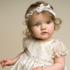 Beautiful light champagne baby christening gown in shantung silk with lace detailing. Comes with the lace headband. Lace Christening Gowns, Baptism Outfit, Baptism Dress, Baby Christening, Baptism Clothes, Precious Children, Beautiful Children, Beautiful Babies, Cute Kids