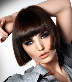 A medium brown straight coloured bob Womens hairstyle by Royston Blythe