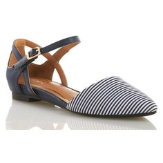 Striped Slingback Flats Flats (40 BAM) ❤ liked on Polyvore featuring shoes, flats, flat pointy toe shoes, pointy toe slingbacks, sling back shoes, pointy toe slingback flats and nautical shoes