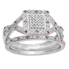 Elora Sterling Silver Round Pink Sapphire and 1/2ct TW Diamond Bridal Set (I-J, I2-I3) (Size 8), Women's