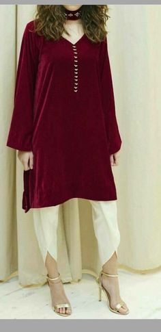 Dazzling Velvet Straight Pant Suit With Red Color - Pakistani Couture, Pakistani Outfits, Indian Outfits, Trendy Dresses, Casual Dresses, Short Dresses, Casual Wear, Modest Fashion, Fashion Dresses