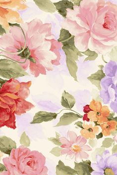 Sweet Floral Pattern Design - Colors in Japanese - Watercolor Flower Painting, Sweet Flowers Background Pictur. Wallpaper Gratis, Iphone 5 Wallpaper, Pattern Wallpaper, Fall Wallpaper, Wallpaper Ideas, Vintage Flowers Wallpaper, Flower Wallpaper, Flower Pattern Design, Flower Patterns