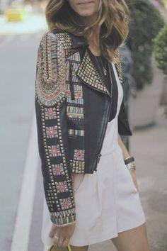Street style studded leather jacket