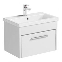 Smart white wall hung vanity drawer unit with basin 600mm