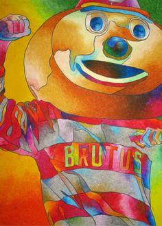 "Brutus Buckeye OSU Original 18""x24"" Oil Pastel Painting in Progress | eBay"