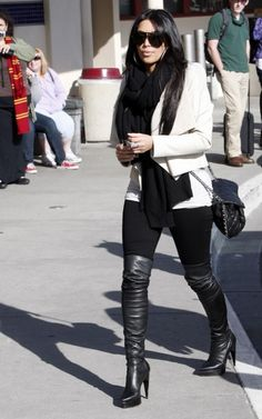 Trendy how to wear leggings with big thighs scarfs ideas Look Kim Kardashian, Estilo Kardashian, Kardashian Fashion, Casual Skirt Outfits, Pretty Outfits, Fall Outfits, Boot Outfits, Outfit Winter, Thigh High Boots Outfit