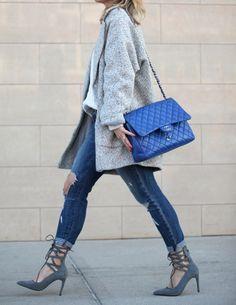 strappy heels + blue chanel + herringbone coat