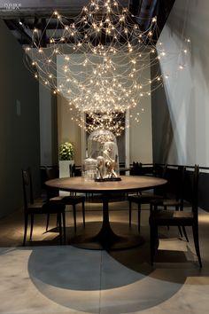 Jan Pauwels's Galaxy chandelier in nickel by Baxter.