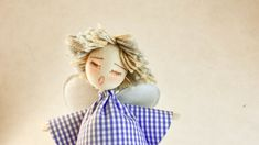 Collectible rag doll as Wedding favor, Flower-bouquet companion, Baby present Baby Presents, All Family, Heart For Kids, Baby Party, Christening, Wool Felt, Wedding Favors, Hand Sewing, Doll Clothes