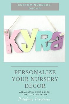 The cutest wall name sign for your little girl's nursery. Custom painted to complement your baby room decor.  #palabraspreciosas # nursery #nurseryinspo #babygirlroom #babyroom #pastelnursery #namesign #makeitmeaningful Baby Name Letters, Baby Name Signs, Nursery Letters, Nursery Name, Nursery Signs, Nursery Room, Baby Room, Pastel Nursery, Baby Girl Nursery Decor
