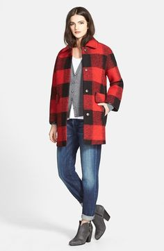 Great layering.  Boyfriend jeans + shrunken cardigan + tee + oversized coat.  Pendleton Buffalo Plaid Barn Coat | Nordstrom