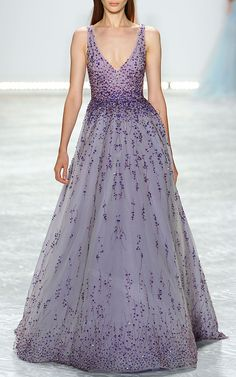 Violet Embroidered Tulle V-Neck Ball Gown by Monique Lhuillier for Preorder on Moda Operandi