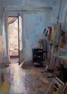 Interior #111 (Studio morning view) - Oil on wood, 45 x 60 cm. Private collection.