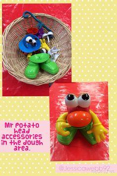 Mr potato head accessories in the dough area. EYFS