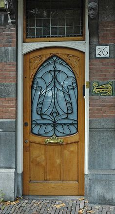 Art Nouveau door & post box, The Hague, Netherlands