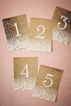 Gilded Letterpress Table Numbers (5) from @BHLDN