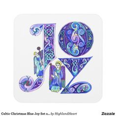 Celtic Christmas Blue Joy Set of 6 Coasters