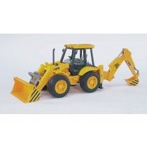 The Bruder JCB Loader Backhoe is 20 in long from the front of its fully functional front loader to extended claw. Operator's seat rotates, and backhoe moves up and down and swings from side to side. JCB Loader w. Backhoe from Bruder. Toys R Us, Kids Toys, Jouet Bruder, Play Vehicles, Construction Birthday Parties, Motor Grader, Backhoe Loader, Unique Toys, Rubber Tires
