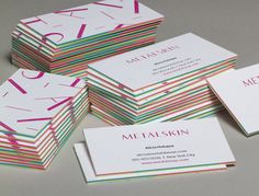 Letterpressed Layered Business Cards.  These Letterpress business cards feature a handmade colour-block layer, including pink, blue and green for the most vivid and eye-catching effect. #jukeboxprint
