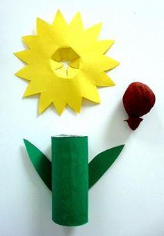 Blume aus Karton und Papier - Pflanzen Basteln - Meine Enkel und ich - Made with schwedesign.de