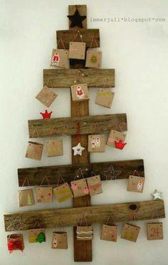 Rustic advent calendar tree