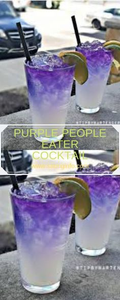 PURPLE PEOPLE EATER COCKTAIL #cocktails Cocktails, Cocktail Drinks, Cocktail Recipes, Sangria Recipes, Martinis, Liquor Drinks, Non Alcoholic Drinks, Refreshing Drinks, Summer Drinks