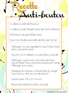 masque argile anti bouton recette - masque argile anti bouton recette You are in the right place about diy projects Here we offer you t - Beauty Care, Beauty Hacks, Beauty Tips, Diy Beauty, French Beauty Secrets, Homemade Acne Treatment, Maquillaje Halloween, Homemade Cosmetics, Acne Skin