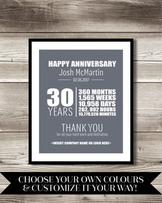 30 Year Work Anniversary Print, gift, digital print, customizable, thank you gift, years of service, employee recognition by ForEvaDesign on Etsy https://www.etsy.com/ca/listing/498747814/30-year-work-anniversary-print-gift