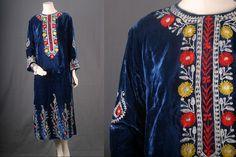 Vintage Caftan dress long maxi blue velvet by sparrowlyn on Etsy, $150.00