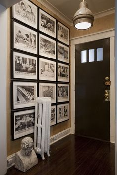 use this idea with one large family picture surrounded by various black and white photos