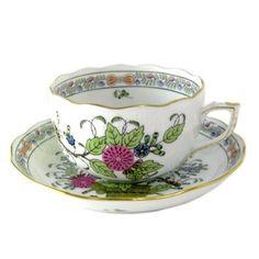 Herend FD India of Hana polychrome tea cup and saucer