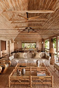 See all our stylish living room design ideas on HOUSE - design, food and travel by House & Garden, including a redesigned bamboo house on the Caribbean island of Mustique Rest House, House In The Woods, Rural House, Tiny House, Rattan, Wicker, Interior Tropical, Bamboo House Design, Nachhaltiges Design