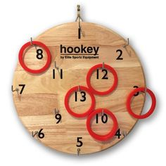 Elite Hookey Ring Toss Wall Game - 5 Fun Family Games On 1 Board - Great Indoor or Outdoor Game for Kids or Adults Man Cave. - OFFICIAL SIZED HOOKEY BOARD, made from ENVIRONMENTALLY SUSTAINABLE HARDWO