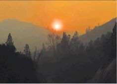Sun setting over the Carr Fire, No. Dusk To Dawn, Sunrise, Fire, Celestial, Outdoor, Outdoors, Outdoor Games, The Great Outdoors, Sunrises