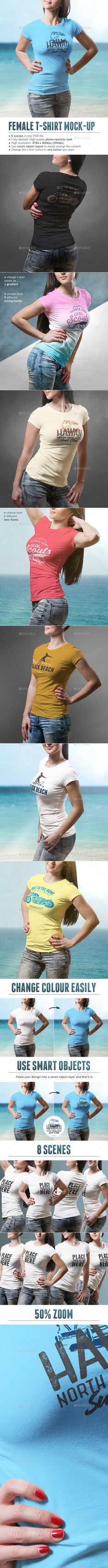 Female T-shirt Mock-up by vasaki 8 high resolution photo-realistic crew neck female t-shirt mock-ups. Whether you own a t-shirt printing company or you are a t-shi