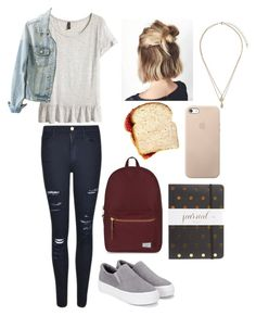 """School: Casual"" by hakay ❤ liked on Polyvore featuring Frame Denim, H&M, Herschel Supply Co., Topshop and Sugar Paper"