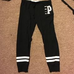 VS Pink Joggers Black VS Pink Joggers. In perfect condition. Only worn twice just too big. Size medium. Only trading for size small VS Pink Joggers. PINK Victoria's Secret Pants Track Pants & Joggers