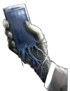 Banksy, the U. street artist who doesn't shy from making commentary on social and technology issues with his graffiti street art, published a new sketch with a terrifying reminder that your iPhone has basically become a parasitic extension. Art Banksy, Bansky, Banksy Images, Banksy Quotes, Banksy Artwork, Art Sketches, Art Drawings, Street Art, Gcse Art