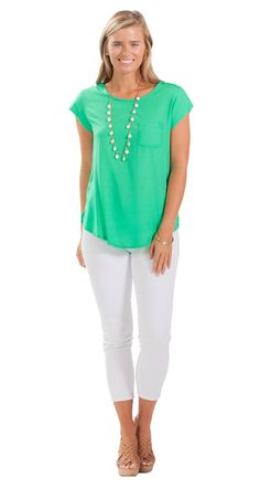 This classic green top is so versatile!
