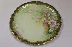 """Antique Limoges Plate Flowers Pink Wildflower Gold Limoges France, 9.50"""" #TVLimoges"""